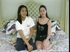Two hot teens retro lesbians kissing passionately
