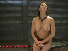 Kinky brunette dominated by busty blonde