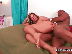Babe with big ass takes a black cock