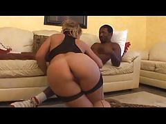 Hot blonde pussy pounding with a black cock