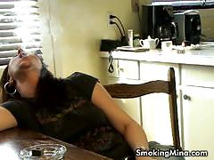 brunette, big tits, milf, busty, solo, mom, fetish, smoking, teasing, striptease