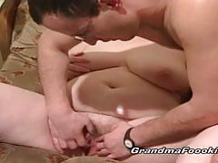 Chubby brunette mature enjoys a young stud's cock