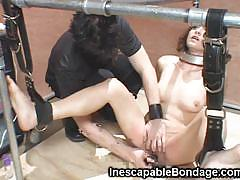 Petite chick bondage and toyed her pussy
