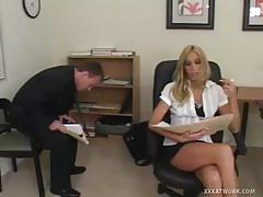 Well stacked blonde slut gets fucked in the office