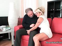 Granny jerks off her horny old man's cock
