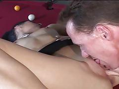 Nasty brunette fucked hard after awesome billiards
