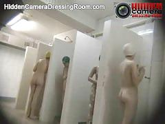 Hidden camera in a public shower shows everything