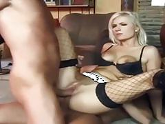 Blonde skank double fucked before creamy desert