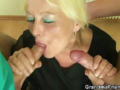 Two cocks feast for this horny blonde granny