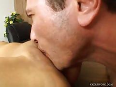 Busty brunette milf sucks and fucks a big cock.