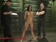 Sexy brunette gets suspended and fingered