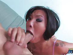 Asian asa akira stuffs her mouth with a big cock.