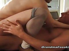 Blonde and brunette matures get banged hard