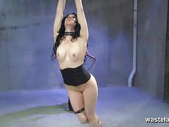 Black haired slave gets bound and dildoed