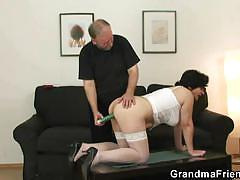 Blindfolded grandma first time threesome