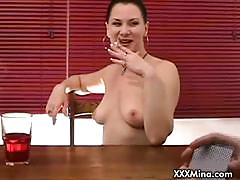 Brunette babe mina sucking cock after a poker game