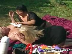 Three horny matures start a hot outdoor threesome