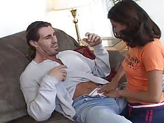 Beautiful brunette fucked by horny dude