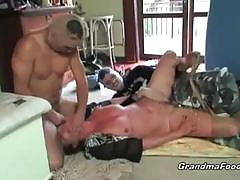 Granny caught by two robbers and banged rough