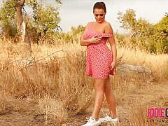 Jodie gasson teases in the nice dress outdoors