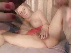 Bosomy milf pumping her trimmed pussy