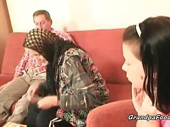 Hot babe helps granny to suck