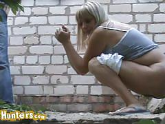 Blonde babes pissing outdoors caught on hidden cam