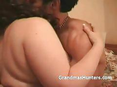 Busty brunette mature tugjobs her man's cock