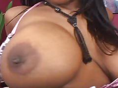 Curvaceous ebony beauty down for huge white cock