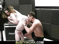 Busty bbw brunette gets banged deep and hard