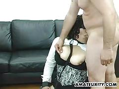 Voluptuous amateur babe fucked and toyed her cunt
