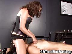 Mistress rewards slave for wearing a chastity belt