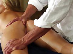 Cameron dee unwinds with the masseur's cock