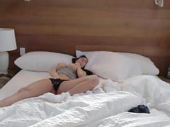 Amazing brunette alektra blue masturbating on bed.