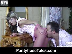 Gina gerson's pink tights make nicholas cum