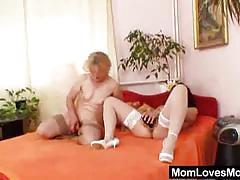 Horny granny loves pussy licking