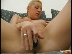 Cute blonde german toying with her puss