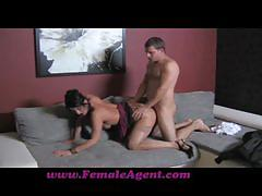 Busty female agent fucking shy guy porn audition