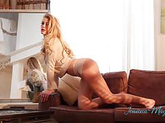 Joanna may parker teases and poses on the couch