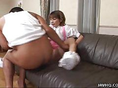 Asian maid miku gets two hard cocks