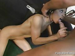 Exotic asian beauty gagging at huge dick