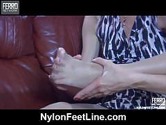 Fiona a exposing her nylon feet playing with it