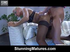 Hot blonde milf in stockings gets banged very hard