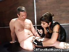 Sexy babe does cock and ball torture on her man.