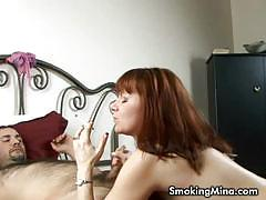 Amateur mina smoking and giving head