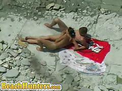 Straight and bisexual couples fucking on the beach