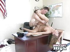Teen mysti may pussy nailed in an office at school
