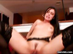 mina leigh, brunette, hardcore, reverse cowgirl, stockings, interracial, doggy style, cowgirl, pantyhose, missionary