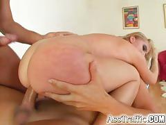 Two loads in blonde's mouth after ass drilling