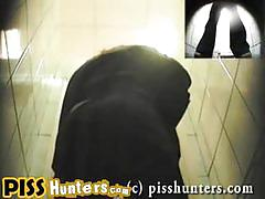 Poor ladies caught by spy cam taking a piss